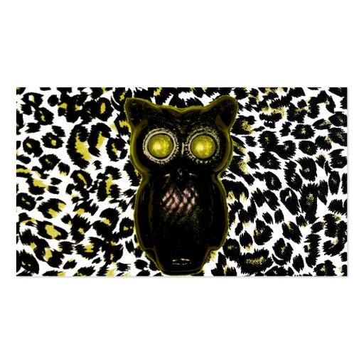 Puntos de oro del leopardo con el búho tarjeta de visita