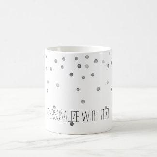 Puntos de plata del confeti de la acuarela taza de café