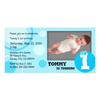 Puntos del azul de la tarjeta de la foto del cumpl tarjeta fotográfica personalizada
