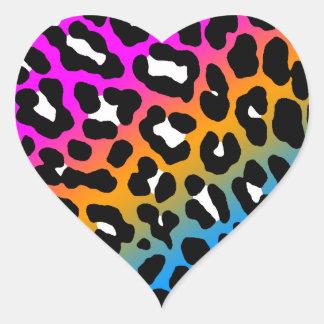 Puntos del leopardo del tigre 80s de Corey Pegatina En Forma De Corazón