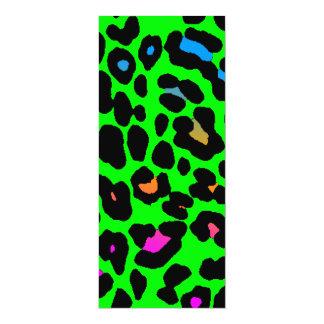 Puntos del leopardo del tigre 80s de Corey (verde) Invitación 10,1 X 23,5 Cm