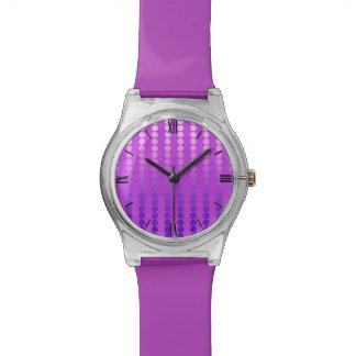 Puntos del satén - violeta y orquídea relojes