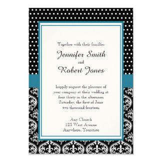 Puntos e invitación blancos negros del boda del