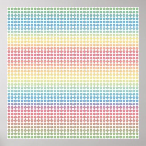 Puntos en colores pastel del arco iris poster
