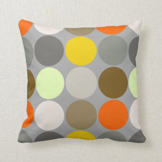 puntos gigantes gris oro y naranja de los cojn decorativo