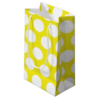 Puntos grandes en diseño amarillo bolsa de regalo pequeña