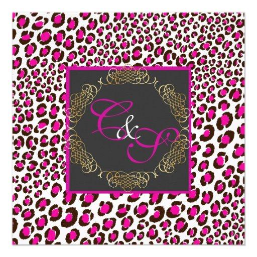 Puntos/magenta del leopardo de PixDezines Invitacion Personal