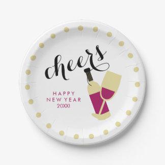 Puntos modernos del vino y del oro de la Feliz Año Plato De Papel