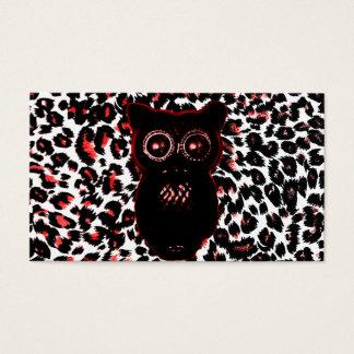 Puntos rojos y negros del leopardo con el búho tarjeta de negocios