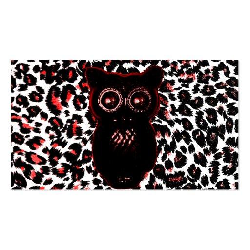 Puntos rojos y negros del leopardo con el búho tarjeta de visita