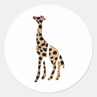 Puré salvaje de la jirafa para arriba pegatina redonda