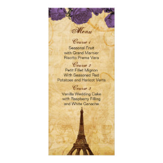 purp vintage eiffel tower Paris wedding menu cards Customized Rack Card