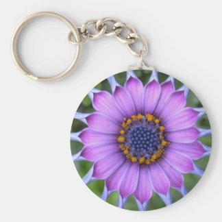 purple flower llavero redondo tipo chapa