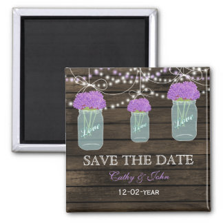 purple flowers in a mason jar save the Date Magnet