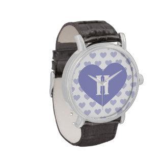 Purple Heart violeta grande - monograma Reloj De Mano