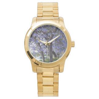 Purple_Jacarandas_River_Large_Unisex_Gold_Watch Reloj