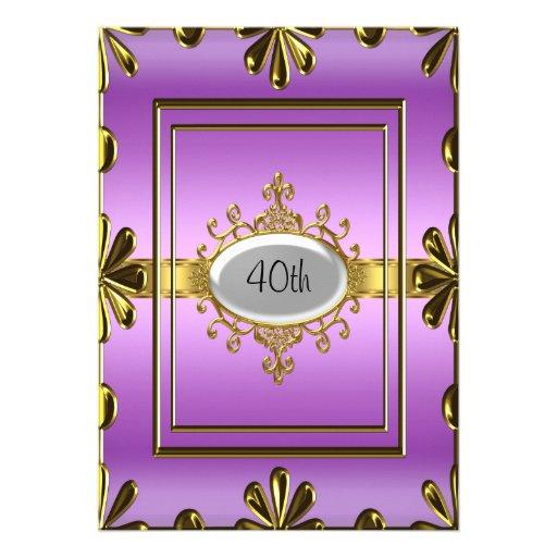 purpleGold púrpura de la invitación de la fiesta d