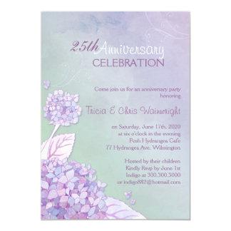Púrpura + 25to aniversario de boda del Hydrangea Invitación 12,7 X 17,8 Cm