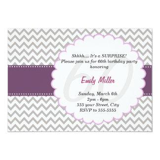 Púrpura adulta de la fiesta de cumpleaños de la invitación 12,7 x 17,8 cm