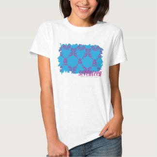 Púrpura-Aguamarina 4 del damasco Camisetas