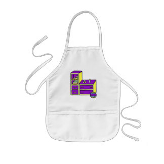 púrpura amarilla del aparador delantal infantil