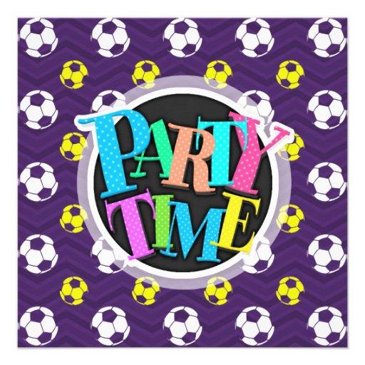 Púrpura, amarillo de oro, blanco, balón de fútbol  invitaciones personales