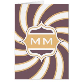Púrpura anaranjada espiral retra del monograma tarjeta de felicitación