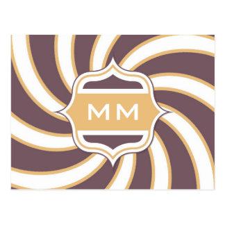 Púrpura anaranjada espiral retra del monograma postal