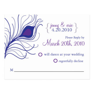 Púrpura azul de la postal del boda de la pluma del