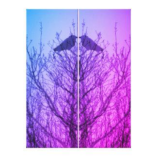 Púrpura azul del árbol del cuervo de la impresión