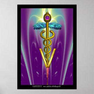 Púrpura azul del SÍMBOLO VETERINARIO del CADUCEO d Posters