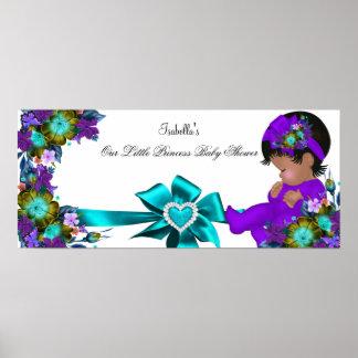 Púrpura azul del trullo del chica de la princesa póster