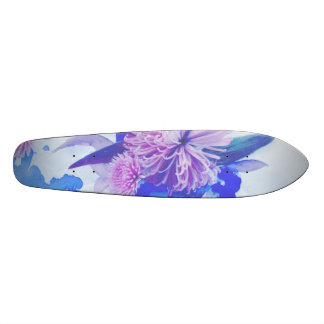 Púrpura, azul y trullo Longboard impreso floral Monopatín 19,6 Cm