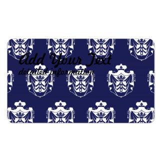 Púrpura blanca del escudo de la familia tarjetas de visita