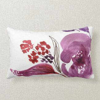 Púrpura de la acuarela + Almohada de tiro floral