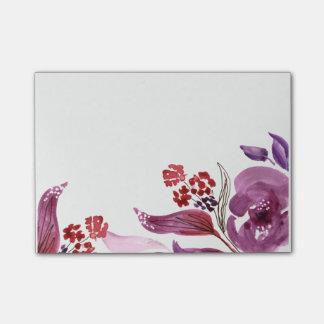 Púrpura de la acuarela + Notas de post-it florales