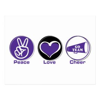 Púrpura de la alegría del amor de la paz postal