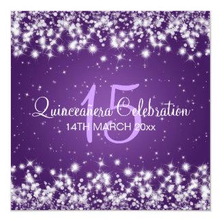 Púrpura de la chispa del invierno del fiesta de invitación 13,3 cm x 13,3cm