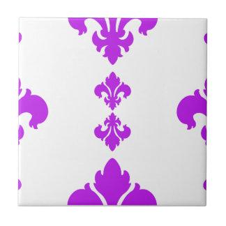 Púrpura de la flor de lis 3 azulejo cerámica