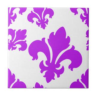 Púrpura de la flor de lis 4 tejas  ceramicas