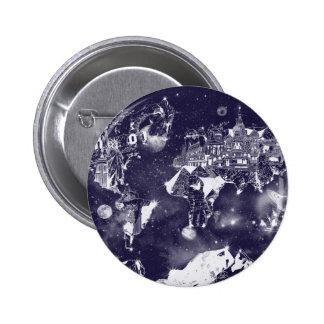 púrpura de la galaxia del mapa del mundo chapa redonda de 5 cm