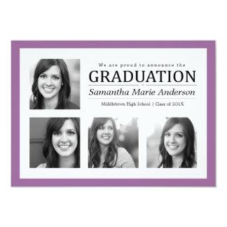Púrpura de la invitación de la graduación del