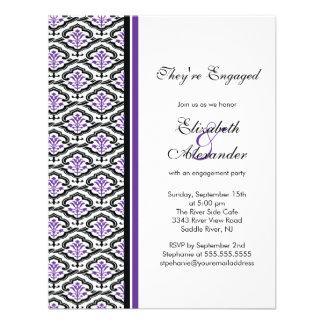 Púrpura de la invitación del fiesta de compromiso