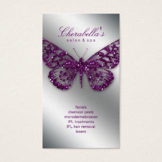 Púrpura de la mariposa del salón de la tarjeta de