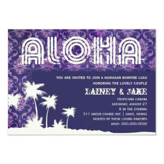 Púrpura de la palma de Luau de la hawaiana de la Invitación 12,7 X 17,8 Cm