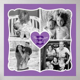 Púrpura de la rejilla de la foto del corazón de póster