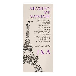 Púrpura de la torre Eiffel de la invitación del bo