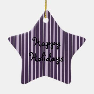 Púrpura de las telas a rayas 2 - buenas fiestas adorno de cerámica en forma de estrella