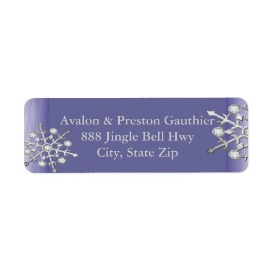 Púrpura de plata del copo de nieve del reflejo etiqueta de remite