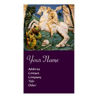 Púrpura de San Jorge, del dragón y de princesa Mon Plantillas De Tarjeta De Negocio